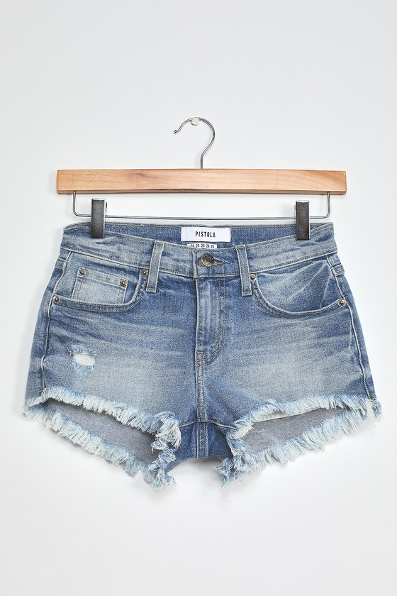 Pistola Gigi Light Wash Low-Rise Distressed Cutoff Shorts