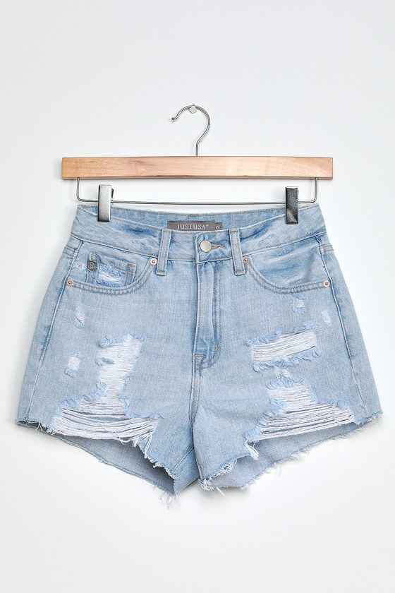 Just Black Aleena Light Wash Distressed High-Rise Shorts
