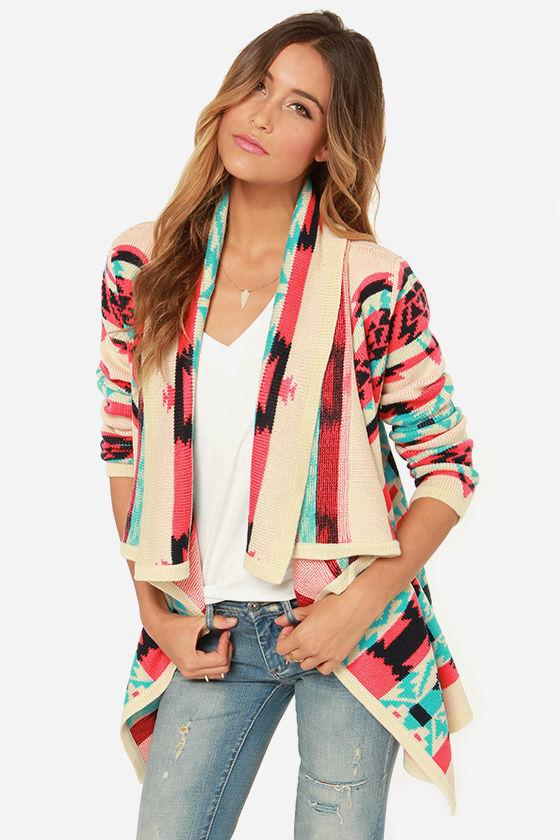 Cozy Cardigan Sweater Southwest Print Sweater Open