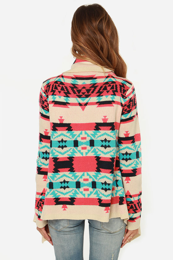 Southwest-ing Game Aqua Blue Print Cardigan Sweater at Lulus.com!