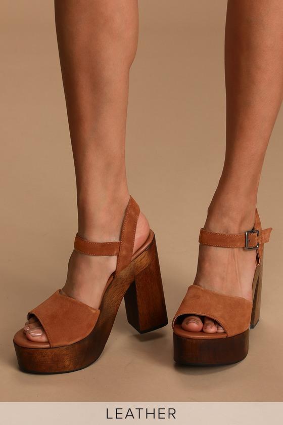 Trendy Platform Heels - Genuine Suede