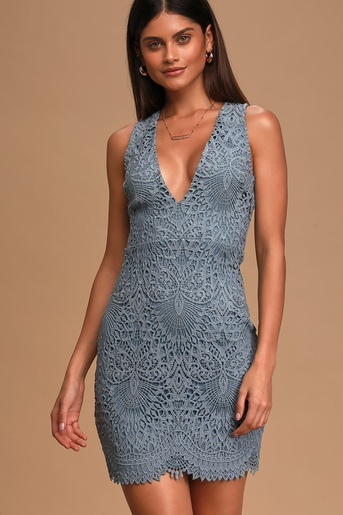 Truly Beloved Dusty Blue Lace Bodycon Dress