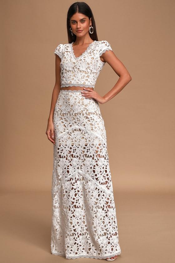 Chic Two-Piece Dress - White Maxi Dress - Crochet Lace Maxi Dress