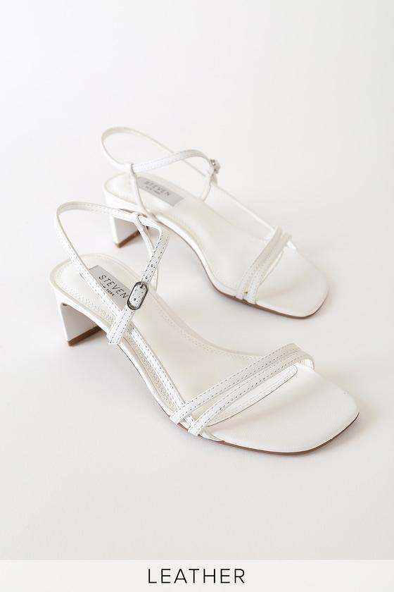 Steven New York Oceana White Leather Strappy Heels