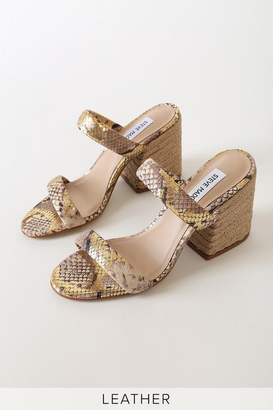 Steve Madden Marcella Gold Snake Leather Espadrille High Heel Sandals