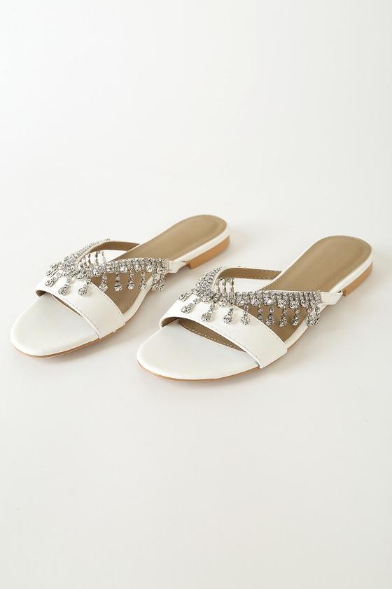 Sidney White Rhinestone Slide Sandals