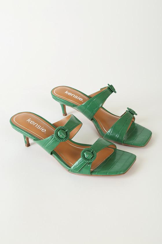 Kensie Gala Kelly Green Crocodile-Embossed High Heel Sandals
