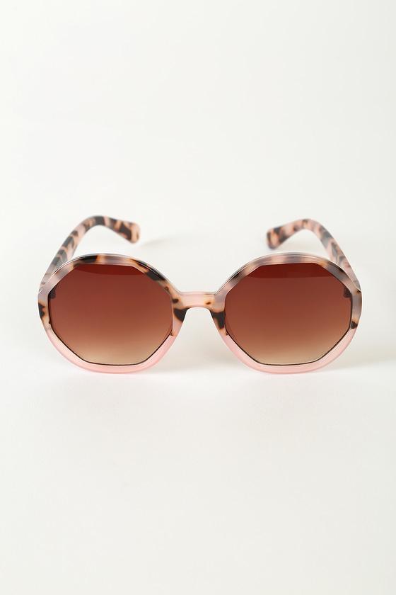 Shape It Up Pink Tortoise Oversized Octagon Sunglasses