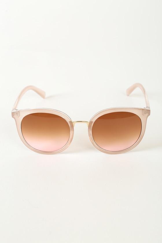 What a Catch Beige Round Sunglasses