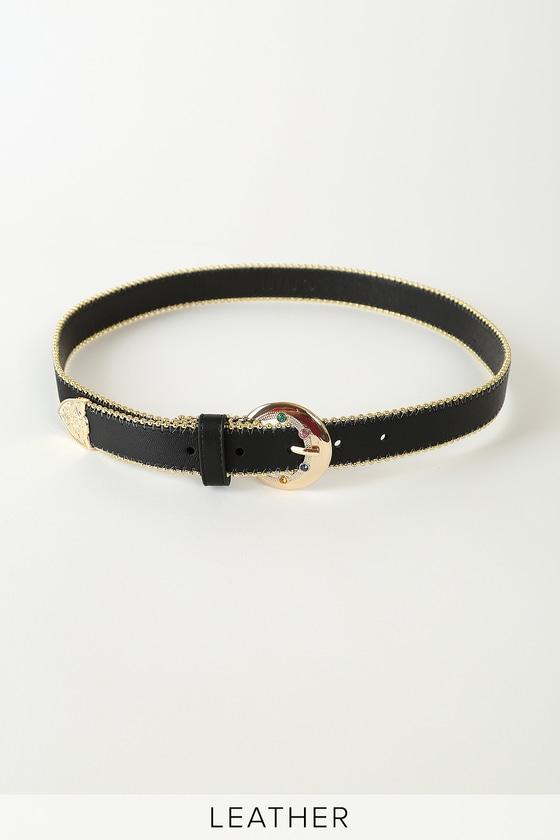 Luv AJ Vintage Celestial 14k Gold and Black Leather Belt