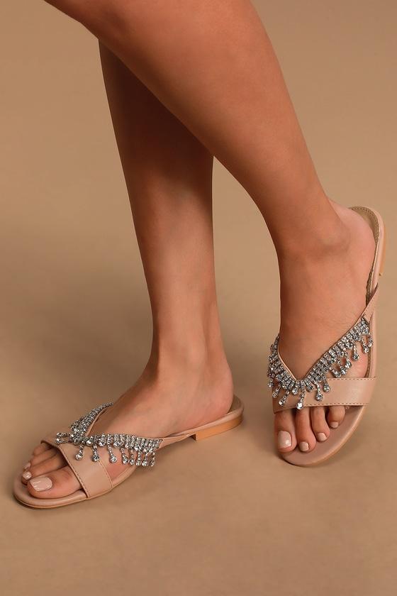 Nude Slide Sandals - Rhinestone Sandals - Embellished Sandals