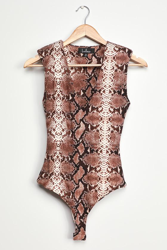 Wild Style Brown Snake Print V-Neck Bodysuit