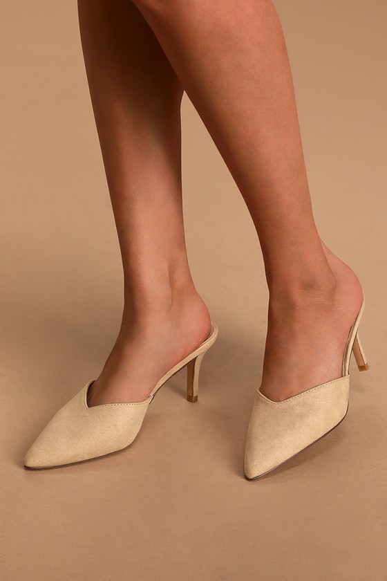 Chic Natural Mules - Faux Nubuck Suede