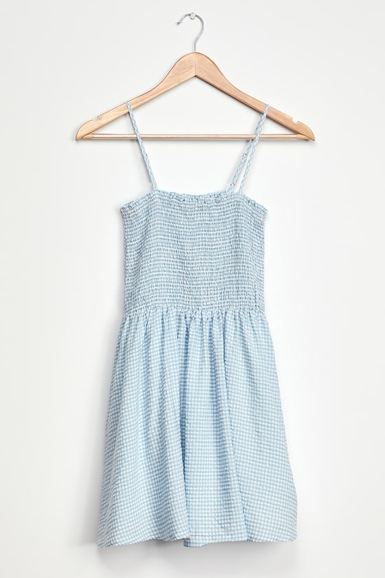 Treat Me Right Light Blue Gingham Smocked Mini Dress