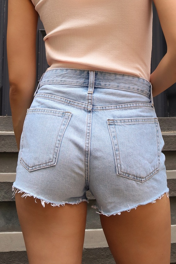JBD Gleeful Light Wash Denim High Rise Cutoff Shorts