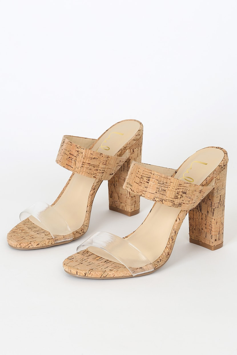 Cute Cork Heels - High Heel Sandals - Clear Strap Heels