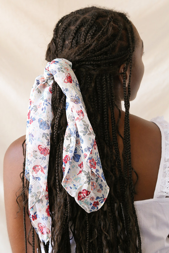 In the Wind Ivory Multi Floral Print Scarf Ponytail Holder