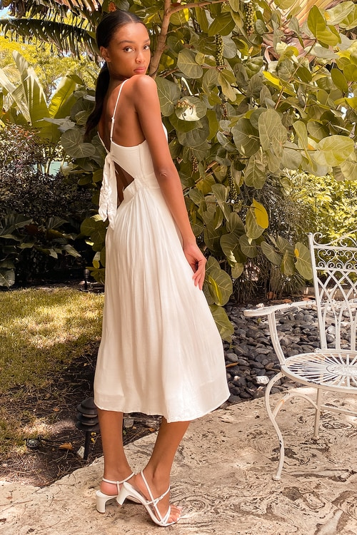 Postcards from Positano White Tie-Back Button Front Midi Dress