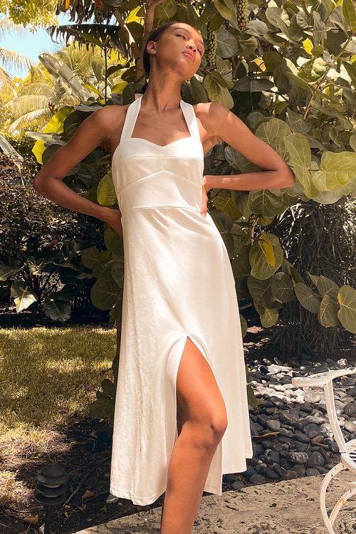 This is Bliss White Halter Midi Dress