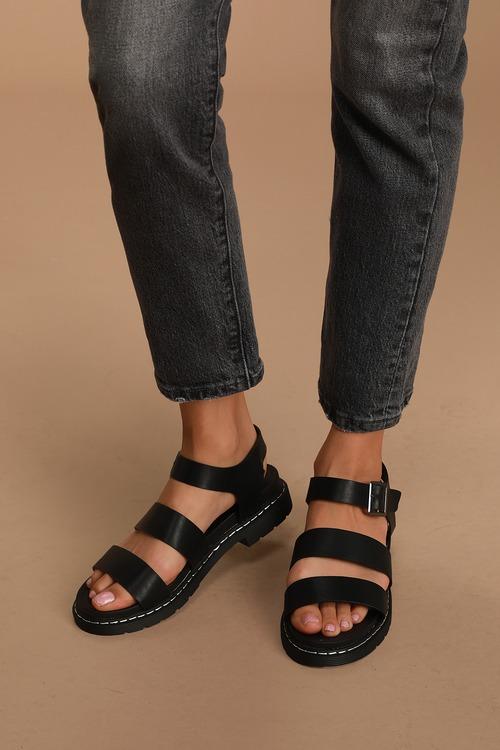 Shaylah Black Platform Sandals
