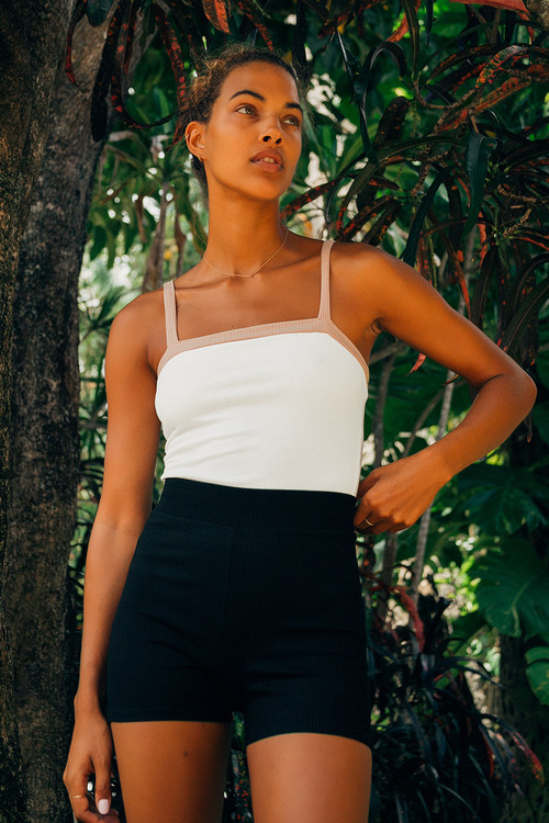 On My Block Ribbed White and Beige Color Block Bodysuit