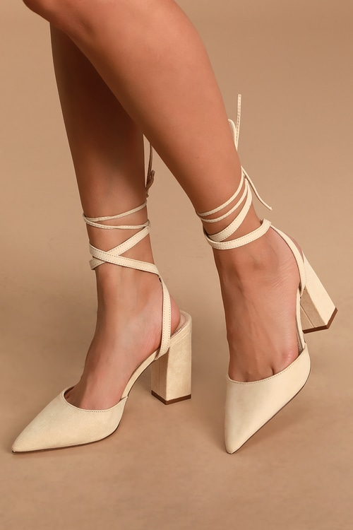 Yazzi Nude Suede Lace-Up Pumps