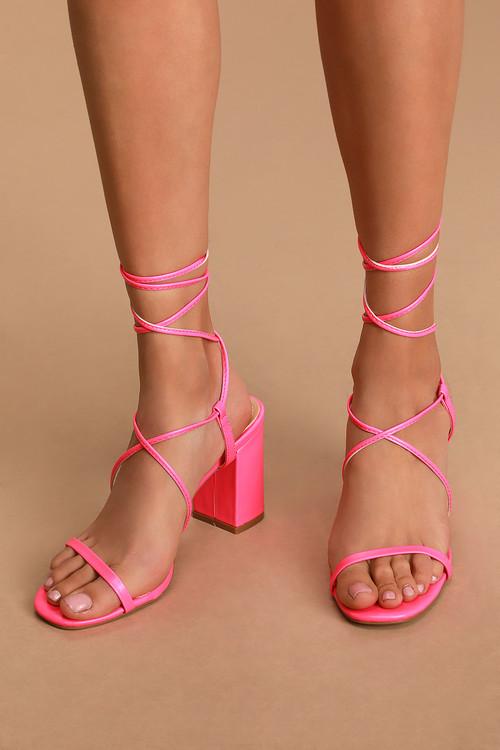 Aribaa Neon Pink Lace-Up High Heel Sandals