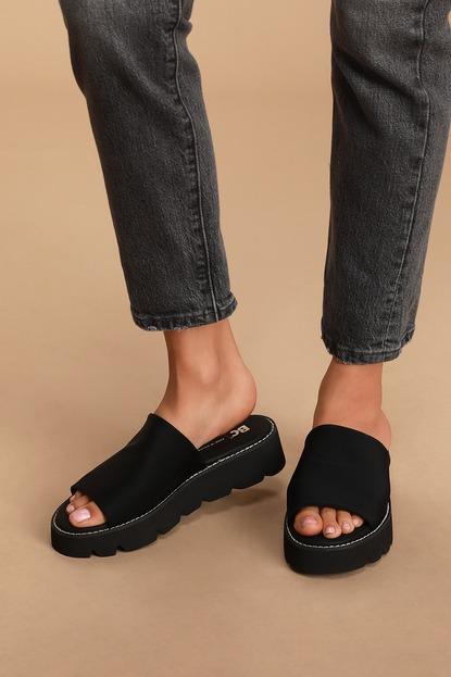Change the Game Black Neoprene Platform Slide Sandals
