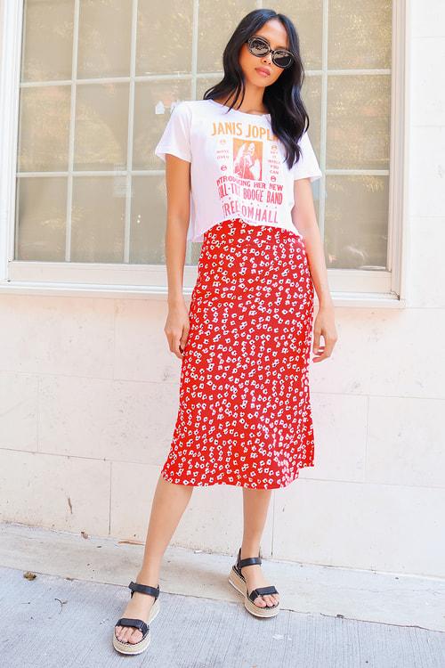 Billabong Fresh to Free Red Floral Print Midi Skirt