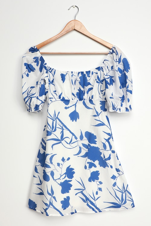 Charlie Holiday Celeste Blue and White Floral Print Puff Sleeve Mini Dress