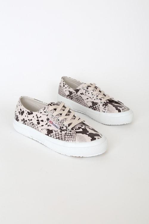 Superga 2750 Taupe Snake Print Sneakers