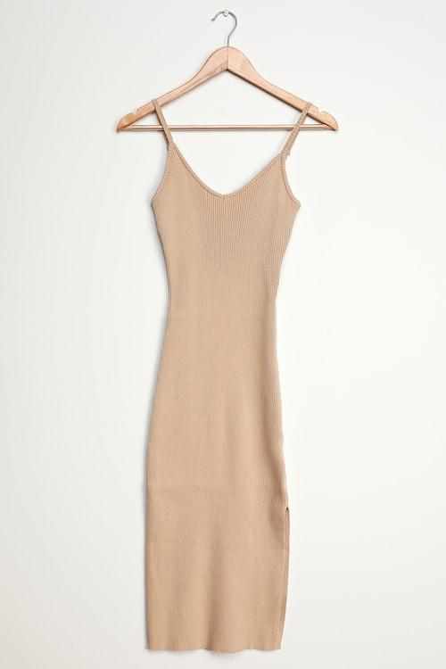 Long-Awaited Tan Ribbed Bodycon Midi Dress