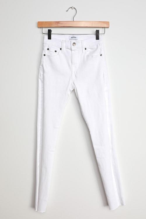 Pistola Audrey White Raw Hem Skinny Jeans