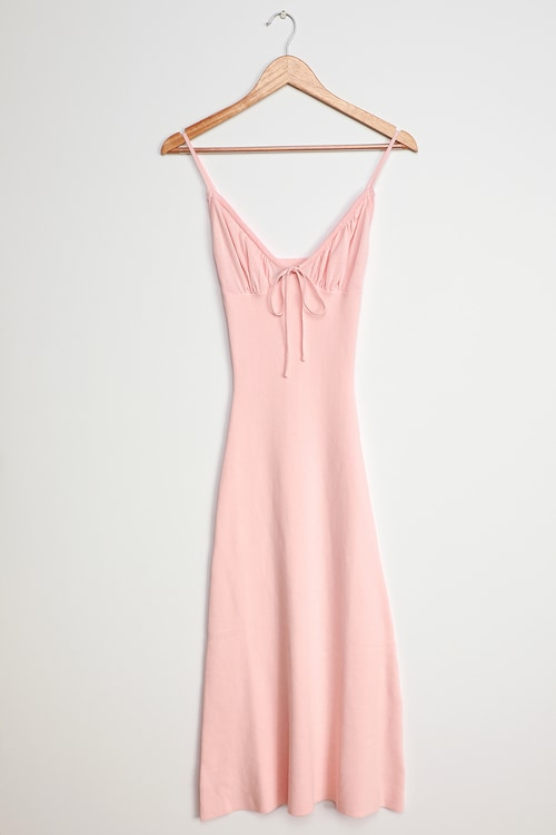 Your Sweetheart Light Pink Ribbed Bodycon Midi Dress