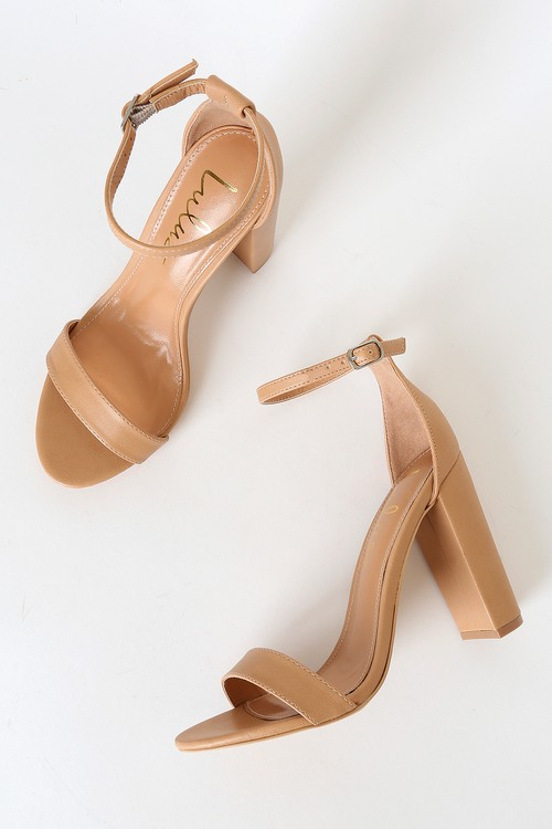 Taylor Naked Hazelnut Ankle Strap Heels