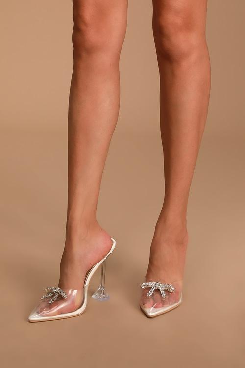 Jezzi White Rhinestone Pointed-Toe Heels