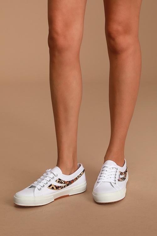 Superga 2953 COTU White Leopard Print Sneakers