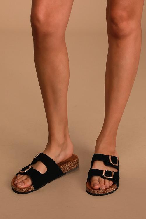 Carmella Black Nubuck Buckled Slide Sandals