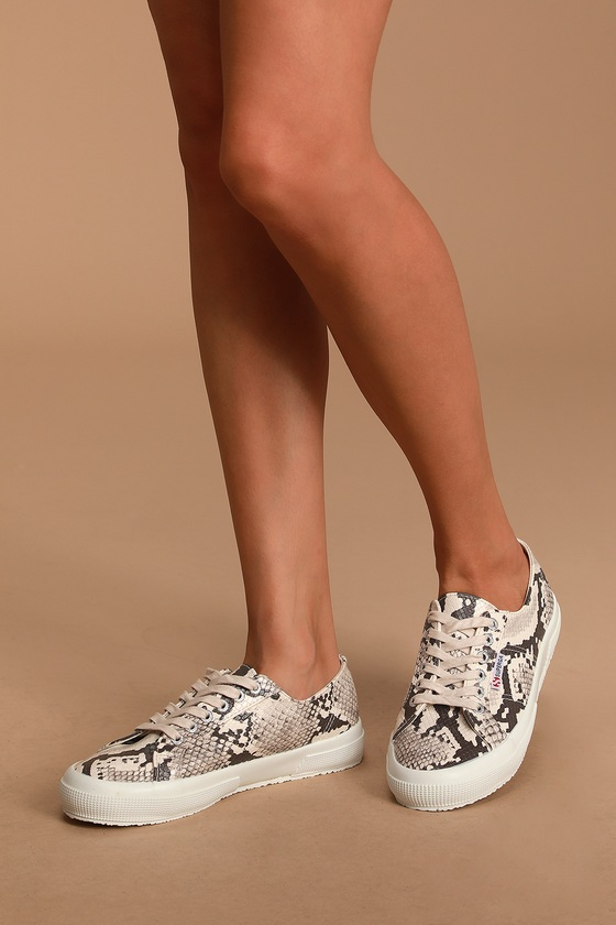 Taupe Snake Sneakers