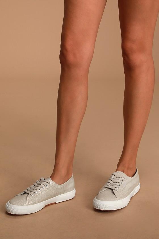 Taupe Crocodile Sneakers - Sneakers - Lulus