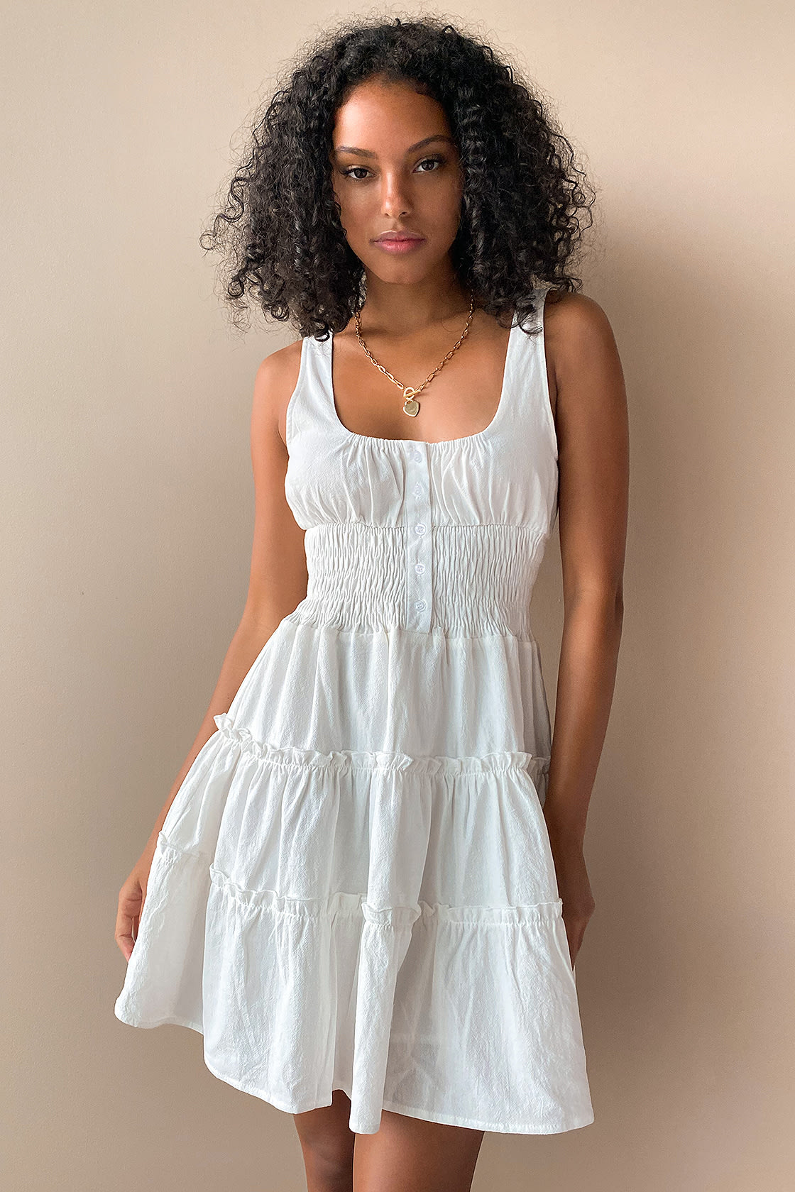 Your Sunny Day White Tiered Smocked Mini Dress