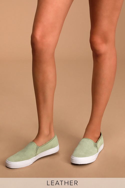 Keds Double Decker Sage Suede Leather Perforated Slip-On Sneakers