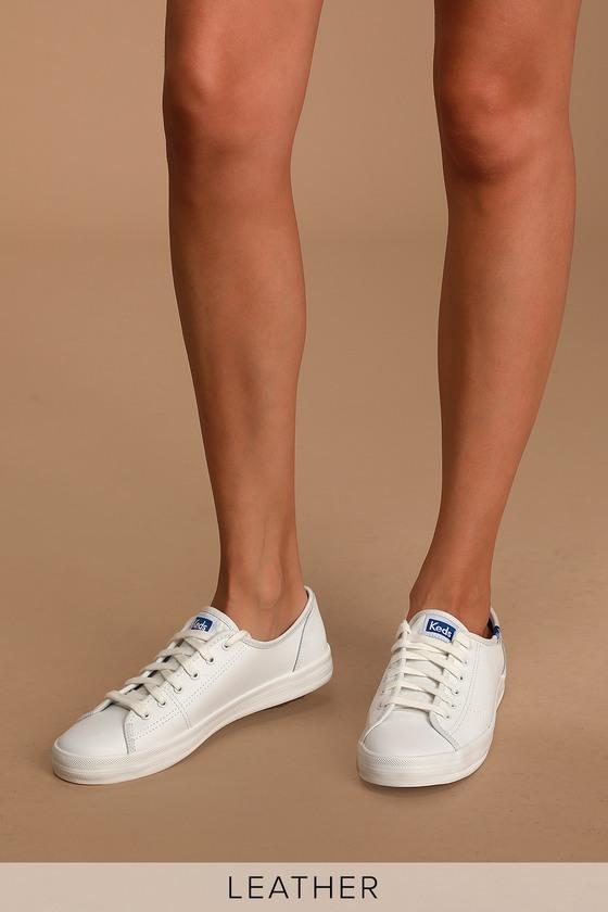 Keds Kickstart - White Leather Sneakers