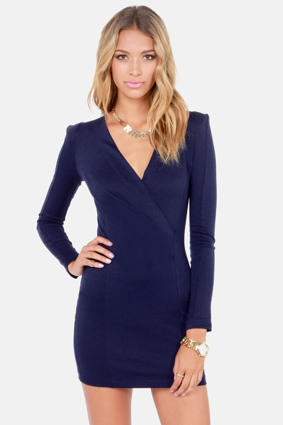 Sexy Navy Blue Dress - Long Sleeve Dress - Wrap Dress - $35.00