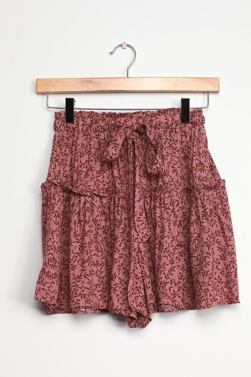Sunset Seeker Mauve Pink Print Ruffled Shorts