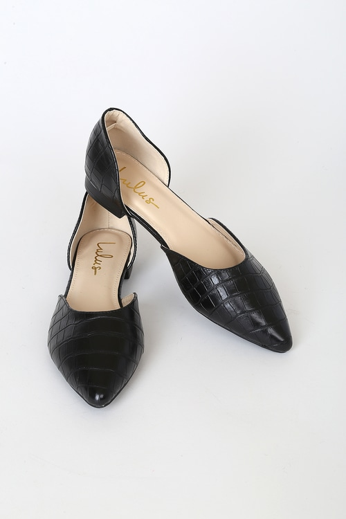 Cecee Black Croc Pointed-Toe D'Orsay Flats