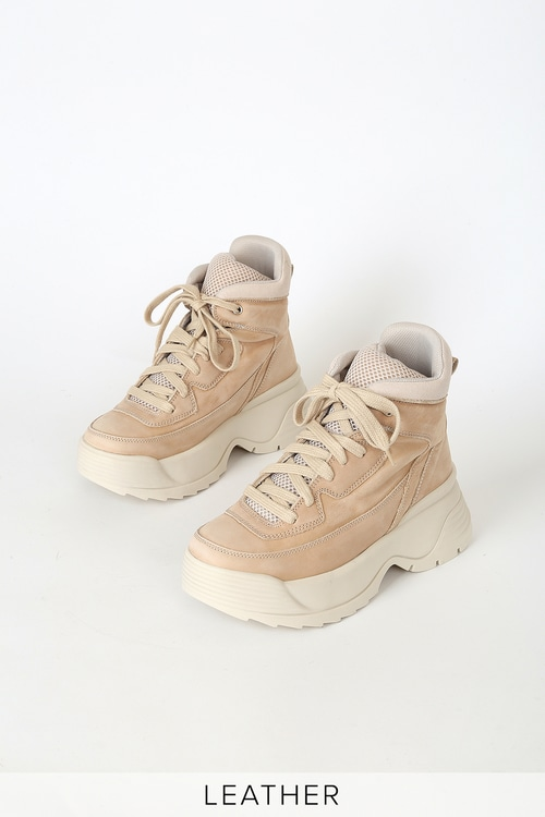 Free People Luca Taupe Leather Hi-Top Sneakers