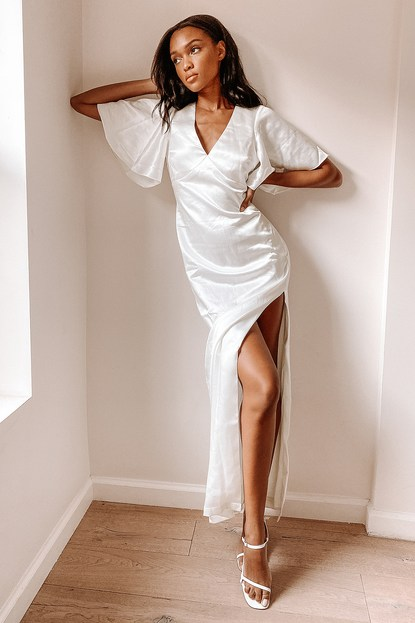 Timeless Beauty White Satin Flutter Sleeve Maxi Dress