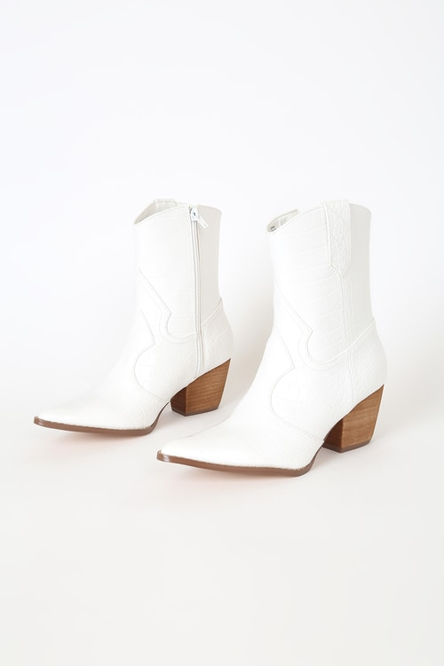 Coconuts by Matisse Bambi White Crocodile Embossed Mid-Calf Boots