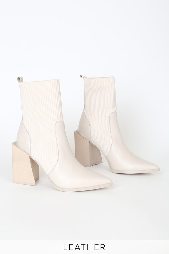 Steve Madden Tackle Bone - Sock Booties - Pointed-Toe Sock Boots